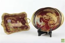 Carlton Ware Rouge Frame Dish & Double Handled Pagoda Dish (AF)