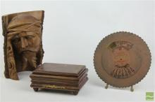 Carved Wooden Bust of Christ, Musical Leather Box & Brass Calendar