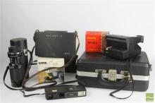 Cased Polaroid, Canon Camera, Tamron Lens & Accessories