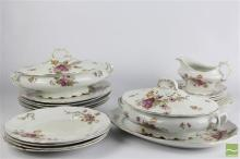 Ceramic Part Dinner Service inc Tureens and Dinner Plates with Floral Designs