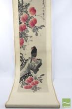 Chinese Scroll of Eagle and Peach Signed ( L 195)