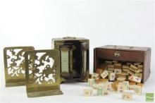 Chinese Stone Set Jewellery Box, a Boxed Bone & Brass Mahjong Set & Brass Bookends