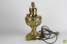 Damask Linen & Brass Miller Lamp (No Flu)