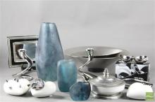 Dinosaur Design Resin Vases Together With Other Homewares Incl Georg Jensen Bowls And Robert Welch Plated Ware