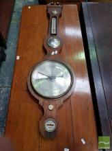 Early 19th Century Rosewood Banjo Barometer, with alcohol thermometer, brass & bone mounts