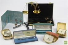 Lady Sheaffer Pen, Cross Pen, Parker Pen Together with Other Items inc Cut Throat, Clocks and Scales