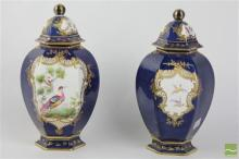 Staffordshire Covered Pair of Vases in the Worcester Style, one chipped
