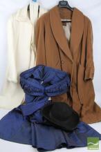 Vintage Donoho & Sharman Wool Coat Mink Trimmed, Blue-off-the-Shoulder Cocktail Dress & Cornelius Full Length Camel Coat with Rosez Hat