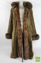 Vintage Fine Venetian Fur Lined, Suede Full Length Jacket