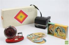 Vintage Mao Zedong Clock (af) with 'Hola Honey' Coasters & Polaroid SX-70 Land Camera & Accessories Kit