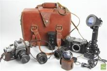 Vintage Zenith Camera In Bag With Accesories And A Ricoh Example
