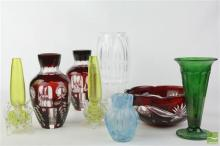 Waterford Crystal Vase, Red Overlay & Other Coloured Glasswares
