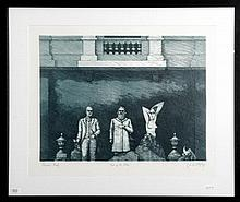 """Michael Kempson, """"Out Of The Blue"""", etching printers proof, signed and dated '85 lower right, 39 x 50."""