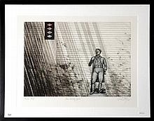 """Michael Kempson, """"Freestanding Figure"""", etching printers proof, signed and dated '85 lower right, 39 x 50."""