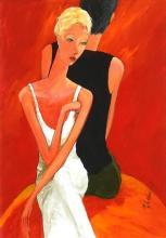 Marek Wilinski (1949 - ) - Woman in White Satin Dress 78.5 x 55cm