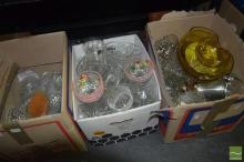 Three Boxes of Glasswares inc Kosta Boda, Dishes Plates and Brushes