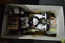 Box Containing Toy Robots and VCR