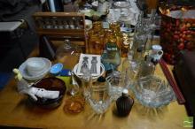 Collection of Glassware incl Bottles, Vases, Jars etc