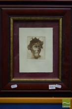 Benjamin Minns, Portrait, etching and aquatint, 9.5 x 8cm, ed. AP, signed lower right