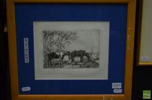 Benjamin Minns, Horses Grazing, etching, 11 x 16cm, signed lower right