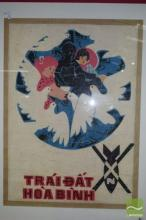 'Peace World' Poster in Frame, labelled 'Traidat Hoa Binh