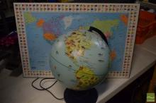 World Globe Night Light and 2 Maps