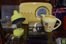 Retro Style Bush Radio with General Electric Cassette Recorder, 'White Horse' Whisky Jug and Lamp