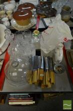 Decanter & 5 Glasses with Cutlery & Domed Cover etc