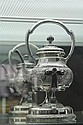 American Wilcox Silver Plate Co Kettle on Stand with Flora Design