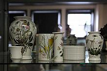 Portmeirion Botanical Vases and White Bowl