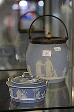 Wedgwood Jasper Ware 19th Century Biscuit Barrel and Lidded dish (handles AF)