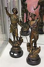 Pair of Spelter Figures of Industry