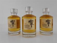 3x Suntory Whisky 17YO 'Hibiki' Blended Scotch Whisky - 50ml miniature bottles