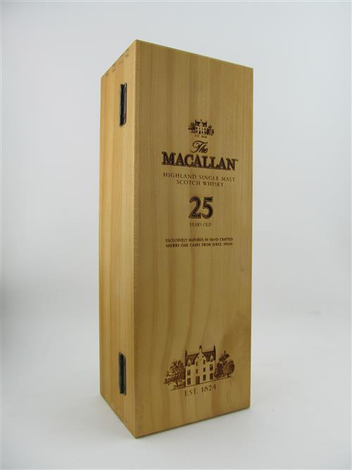 1x The Macallan 25YO 'Sherry Cask' Highland Single Malt Scotch Whisky - 43% ABV, 700ml in timber presentation box