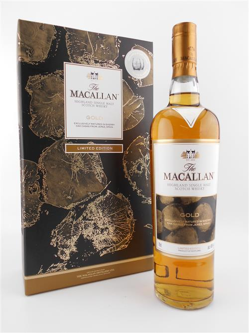 1x Macallan 'Gold' Sherry Oak Single Malt Scotch Whisky - limited edition with tumblers in gift box
