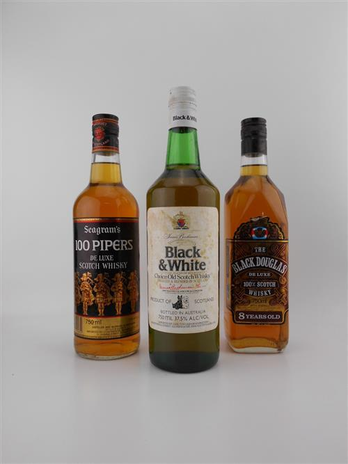 3x Old Whiskies - B&W, Black Douglas & 100 Pipers