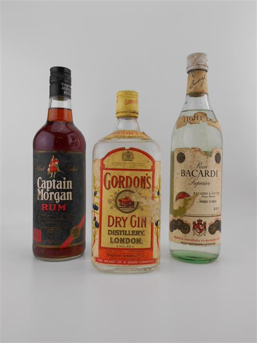 3x Old Spirits - Captain Morgan Rum, Bacardi White Rum & Gordon Dry Gin