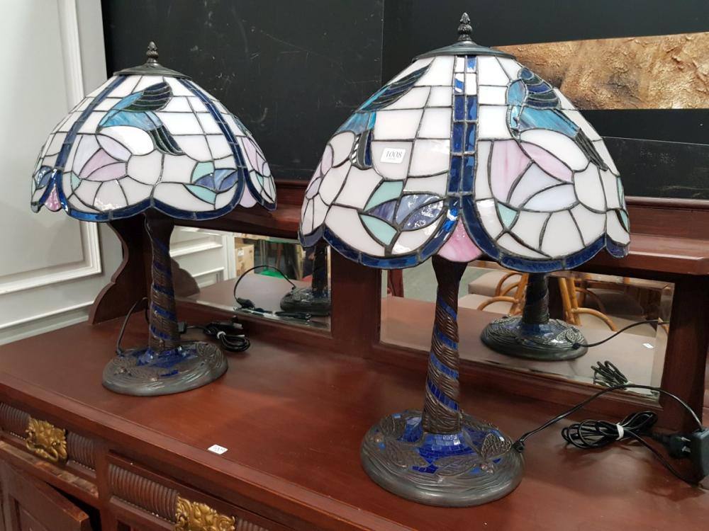Pair of Leadlight Shade Table Lamps