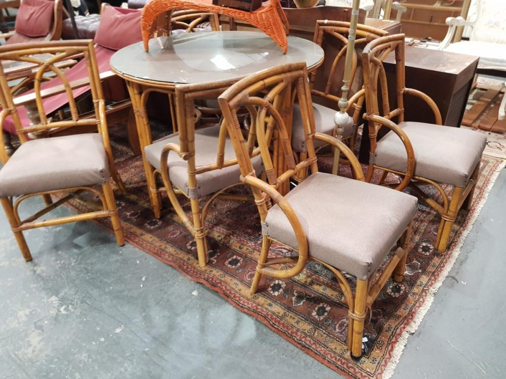 Cane Seven Piece Dining Setting incl. Round Glass Top Table & Six Chairs with Upholstered Seat