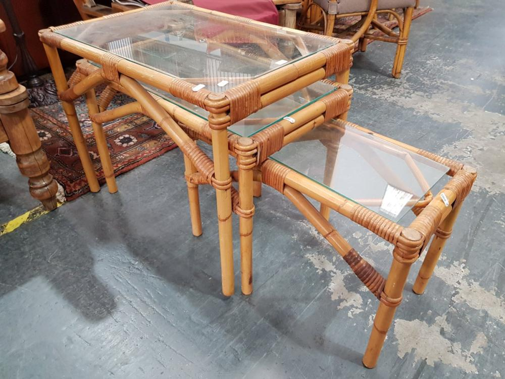 Nest of Three Cane Side Tables with Glass Top