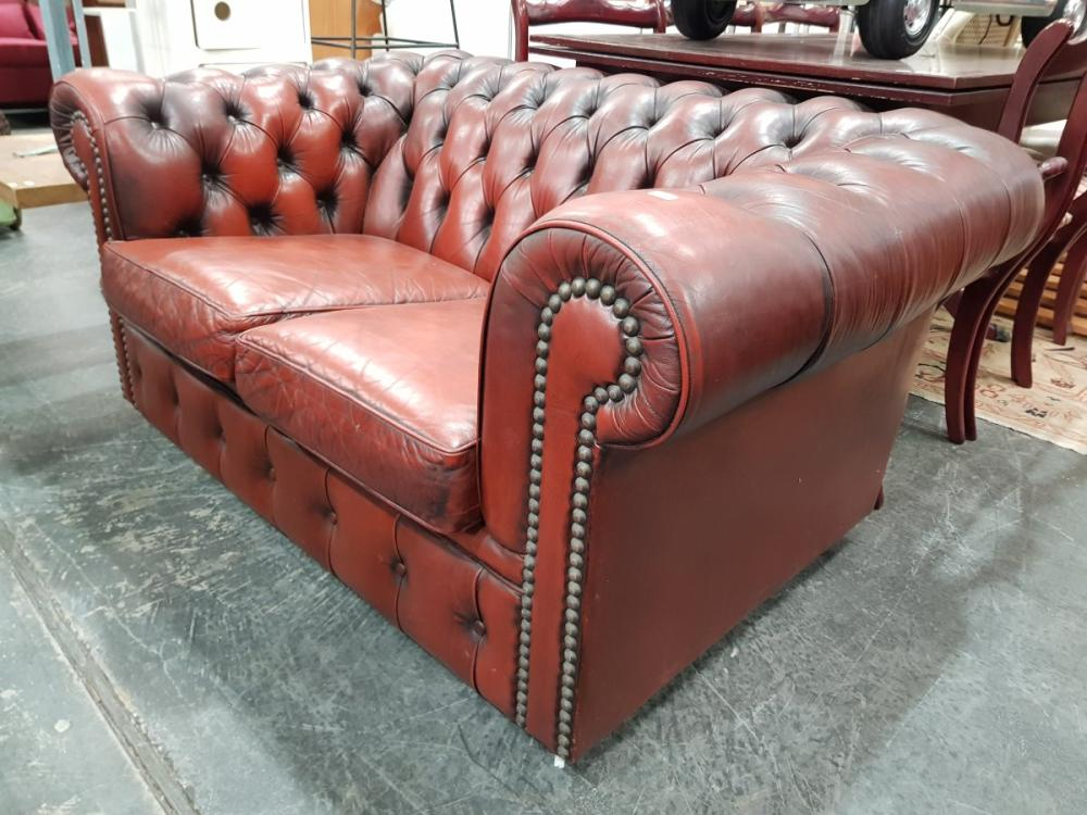 Moran Burgundy Leather Two Seater Chesterfield