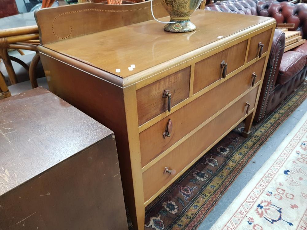 Raised Maple & Veneered Dressing Table with Five Drawers