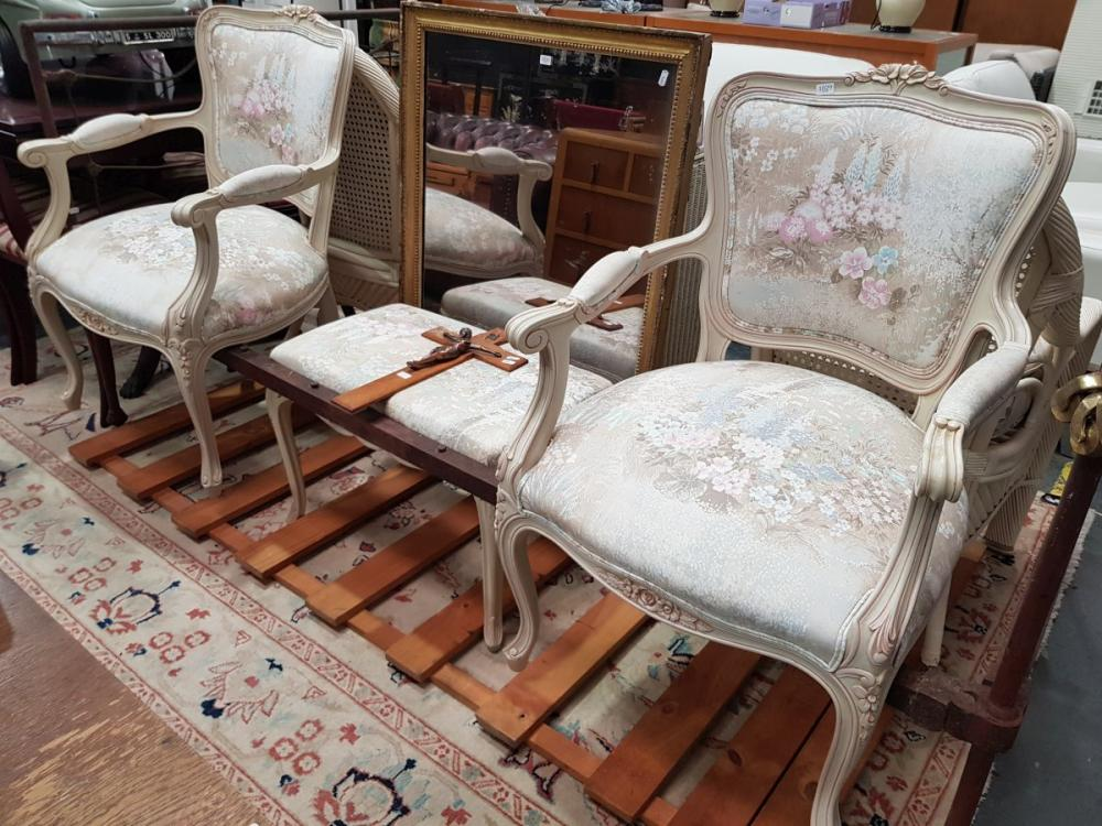 Pair of French Style Armchairs with Single Footstool