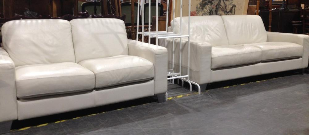 Natuzzi White Leather 2 and 3 Seater Lounges