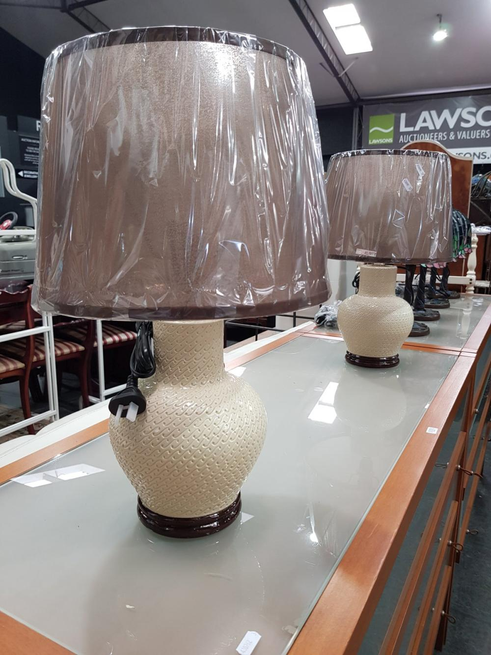 Pair of 1960's Style Cream & Brown Table Lamps (Retro9)
