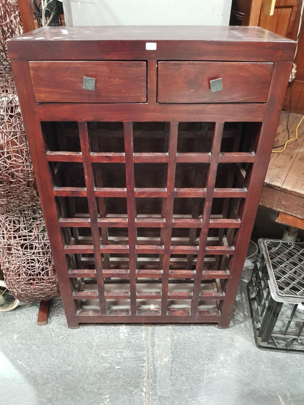Timber Wine Rack with Two Drawers