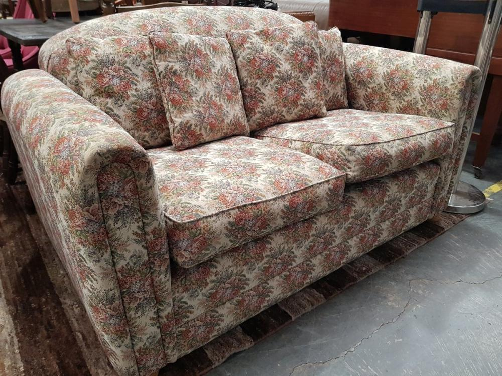 Floral Upholstered Two Seater Sofa