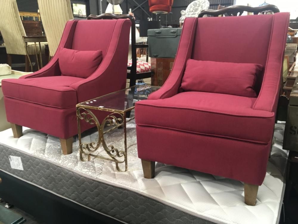 Pair of Maroon Lounge Chairs