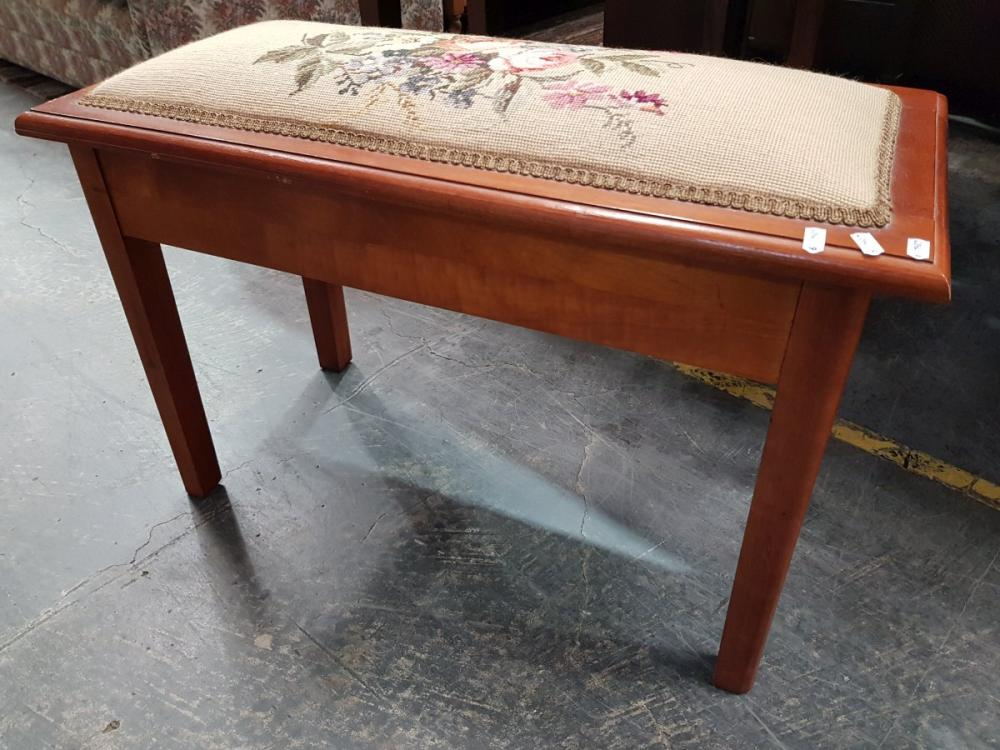 Timber Piano Stool with Floral Tapestry Lift Seat