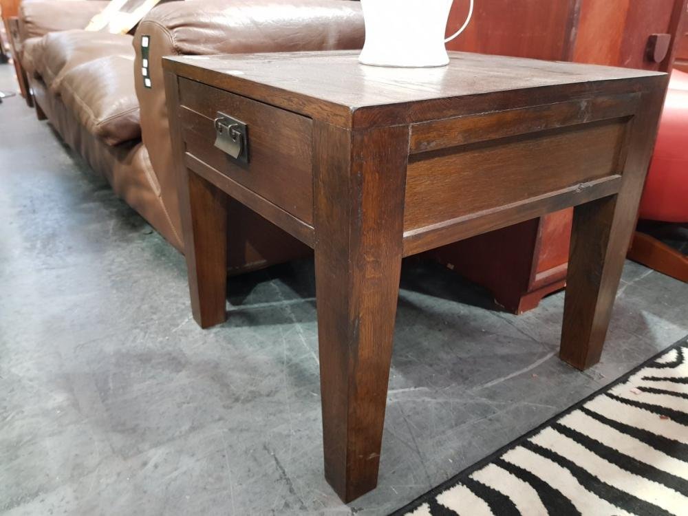 Pair of Oak Side Tables with Single Drawer